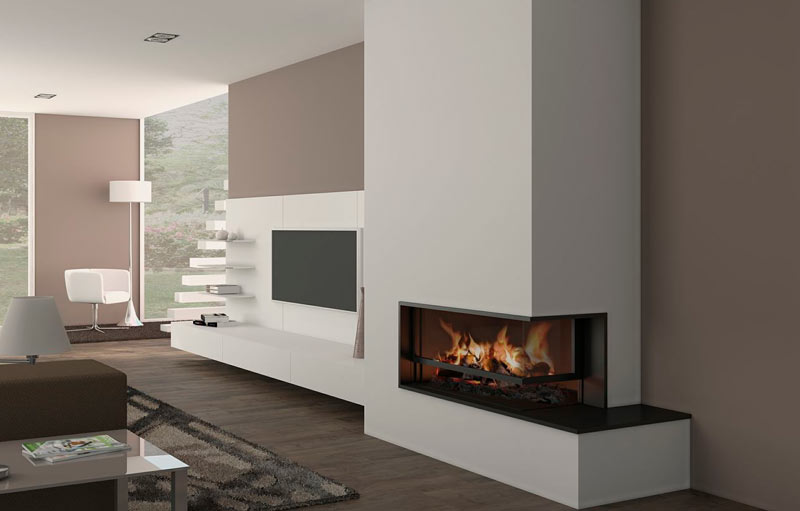 Galer a on line de chimeneas modernas for Salones modernos con chimenea