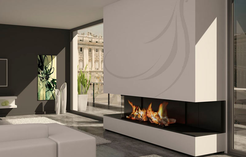 Chimenea moderna modelo habana chimeneas modernas - Chimeneas de pared modernas ...